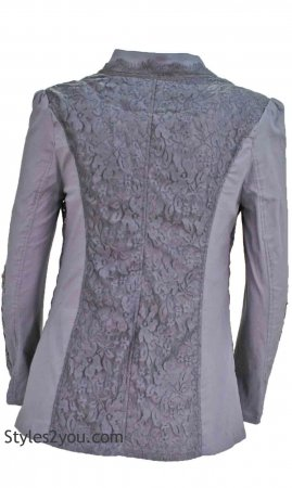 Jane Ladies Vintage Victorian Blazer With Crochet & Lace In Gray