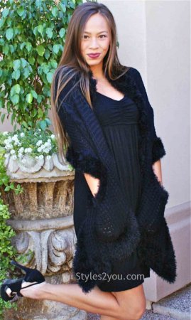 Sally Ladies Sweater Pocket Shawl Black My Pretty Angel Clothing