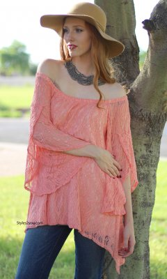 Cindy Modern Vintage Lace Blouse In Coral