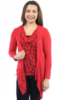 Monroe Two Piece Knit & Lace Top & Cardigan In Red