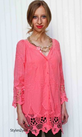 Francesca Ladies Embroidered Cotton Antique Blouse In Coral