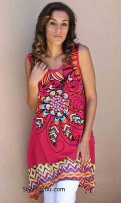 Aponi Bohemian Shirt Dress In Fushia