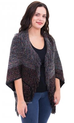Mcallen Short Sleeve Sweater Wrap With Fringe In Gray
