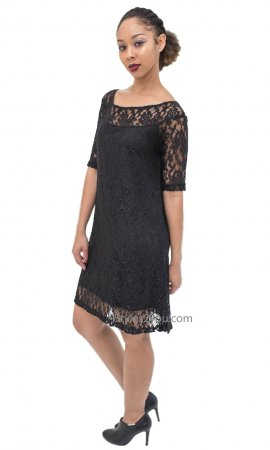 Adrian Half Sleeve Lined All Lace Evening Dress In Black