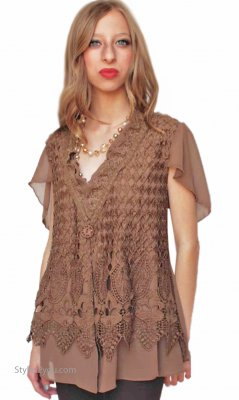 Esme Ladies Vintage Reproduction Cardigan Brown Pretty Angel Top