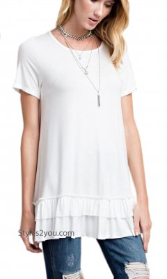 Sailer PLUS SIZE Ruffle Shirt Dress Shirt Extender Off White Top