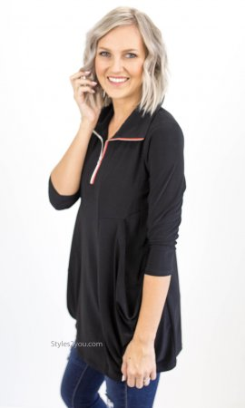 Alto Ladies Tunic With Slouch Pockets & Zipper In Black