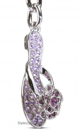 Ladies Slipper Keychain With Swarovski Crystals In Violet