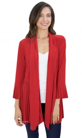 Madeline Ladies Pleated Jacket Red Reina Pretty Woman Clothing