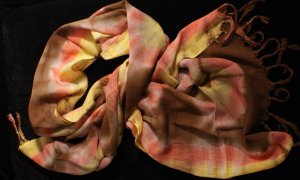 Pink Brown and Yellow Tie-dye Scarf