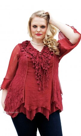 Montabella PLUS SIZE Vintage Victorian Blouse In Burgundy