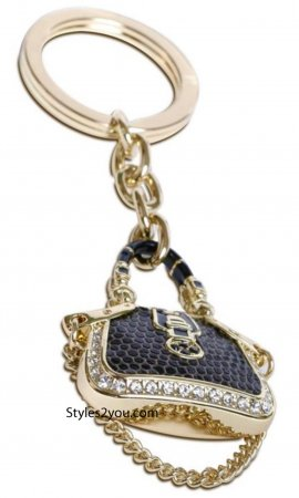 Handbag Rhinestone Keychain In Black & Gold