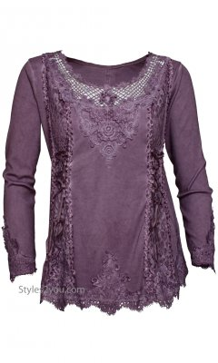 Cholera Vintage Victorian Lace Up Top In Purple Pretty Angel Top