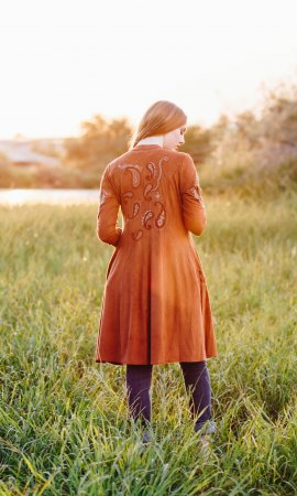 Austin Long Sleeve Embroidered Faux Suede Duster Coat Rust