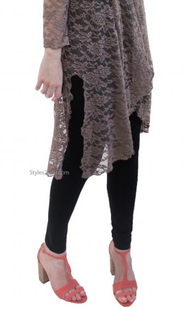 Connie Victorian Modern Vintage Lace Cardigan Duster In Brown