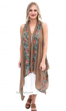 Steffanie Embroidered Sleeveless Cardigan Scarf Shawl Ecru