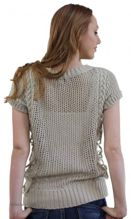 Jackie Unique Ladies Sweater Top In Taupe