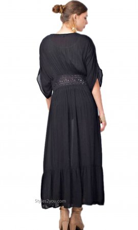 Mobile Maxi Cardigan Crochet Lace Tie Waist In Black