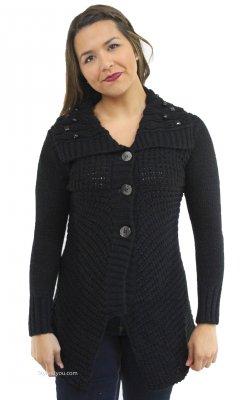 1dca0a893198b8 Raven Beaded Sweater Cardigan In Black