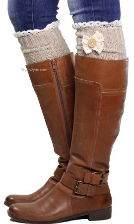 Cable Knit Boot Cuff With Crochet Lace, Bow & Button In Ivory