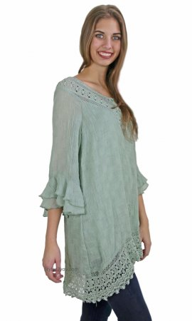Banasha Two Piece Ladies Gauze Peasant Dress In Sage Monreno Top
