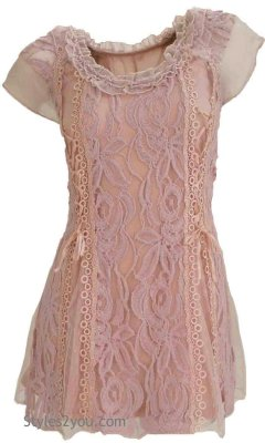 American Vintage Lace Blouse Short Sleeve In Mauve