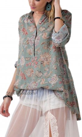Roseanne Cotton Floral Print Button Up Blouse In Sage Easel Tops