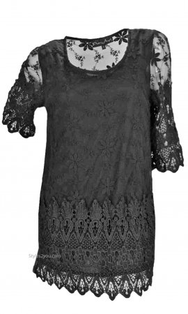 Expressions Ladies Vintage Victorian Lace Silk Blouse In Black