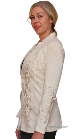 Jane Ladies Vintage Victorian Blazer With Crochet & Lace Caramel