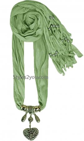 Crystal Heart Scarf In Green