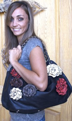Women's Handbag Black With Multi Colored Roses