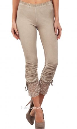 Garnet LARGE Lace Trim Knit Pants Ruche Detail Beige Seduzione