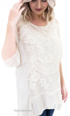 Katy Embroidered Vintage Victorian Tunic In Color Washed Cream