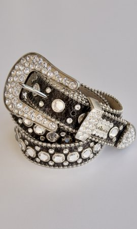 BB Simon Leather Belt Swarovski Crystals and Dark Gray Leather
