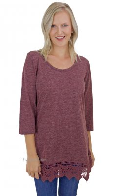 Chicago Shirt Extender Layering Top Crochet Hem Burgundy Top