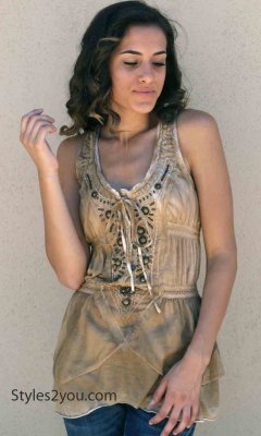 Telma Ladies Vintage Western Tank Top In Vintage Brown