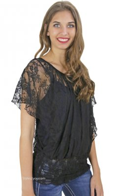 Aubrey Curvy Ladies Vintage Lace Blouse in Black COC Clothing