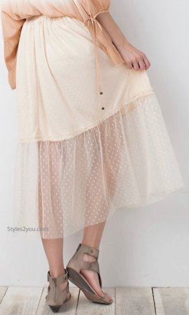 Tullibe Knee Length Tulle Skirt Elastic Waist Lined Mesh Natural