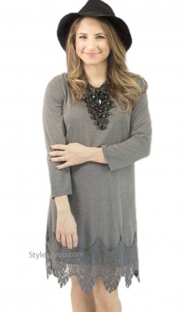 Daphnie Shirt Dress Extender With Lace Hemline Gray Monoreno Top