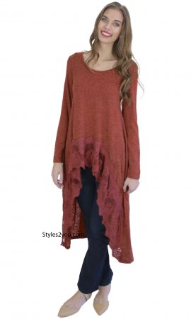 Fame Long Sleeve Extreme Hi Low Top With Lace Hem In Rust