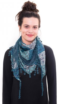 Grace Vintage Victorian Layered Scarf With Tie In Teal