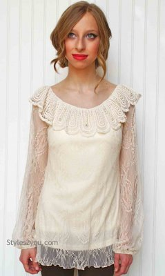 Teagan Victorian Vintage Lace Blouse In Cream