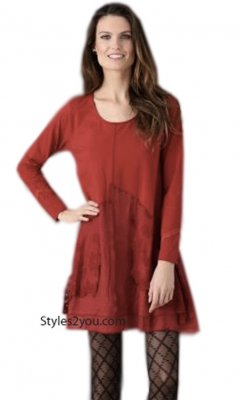 Samantha Long Sleeve Lace & Linen Tunic Dress In Burgundy