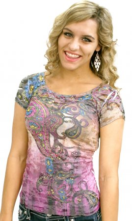 Paisley Burn Out Tee Shirt