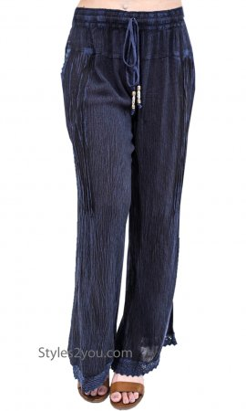 Frisko Ladies Rayon Elastic Draw String Waisted Boho Pants Blues