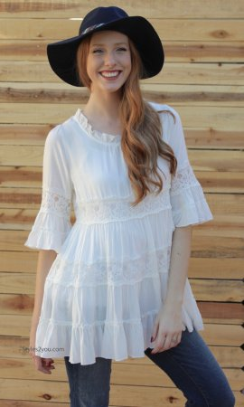 Julia Tunic Blouse In Off White Sacred Threads Clothing Blouse