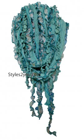 Fun Feti Scarf In Aquas & Whites