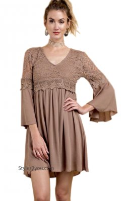 Kentucky Ladies  Floral Lace Dress 3/4 Sleeve Empire Waist Taupe