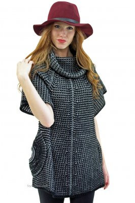 Crystal Sweater Shirt Dress Tunic In Black & White