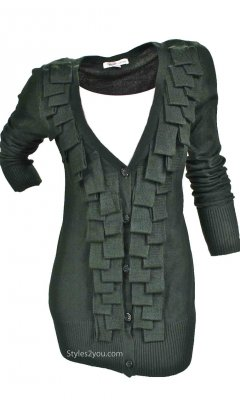 Barbara Cardigan With Fringe In Olive